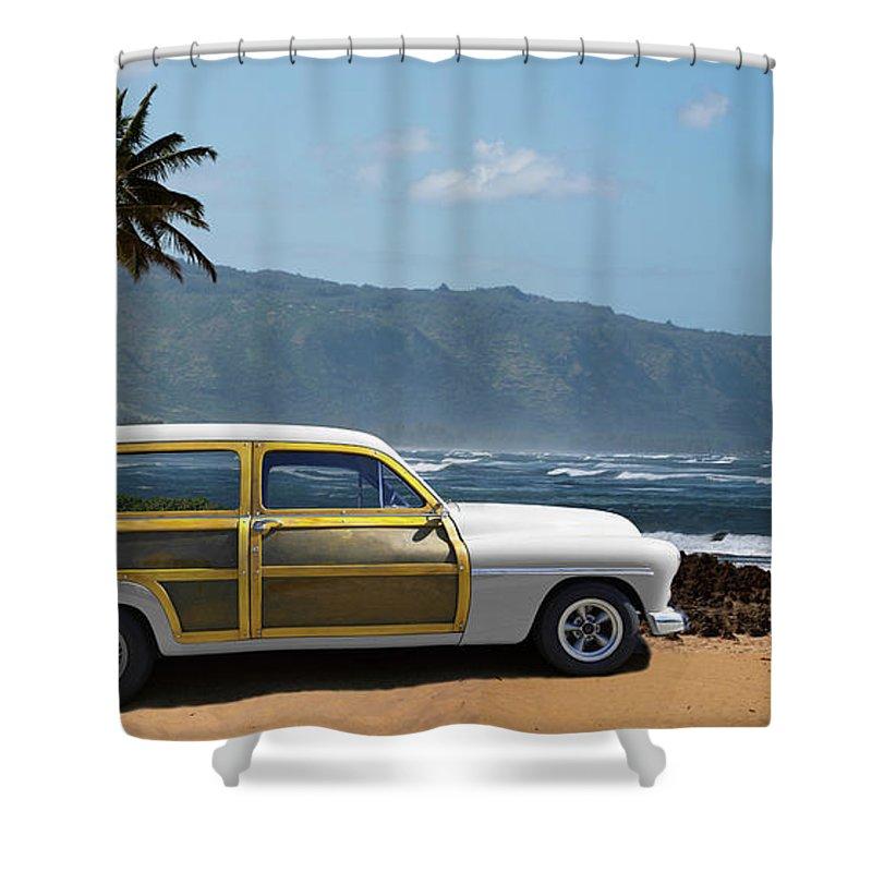 Haleiwa Shower Curtain featuring the photograph Vintage Woody On Hawaiian Beach by Ed Freeman