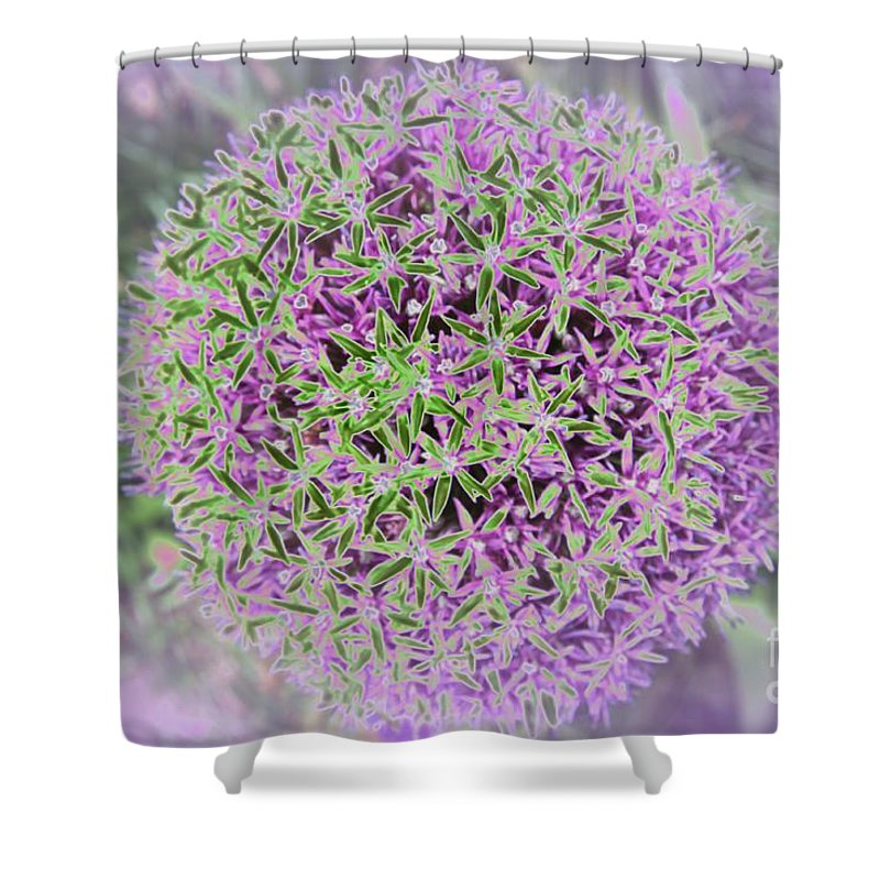 Flower Shower Curtain featuring the photograph Violet And Green by Christiane Schulze Art And Photography