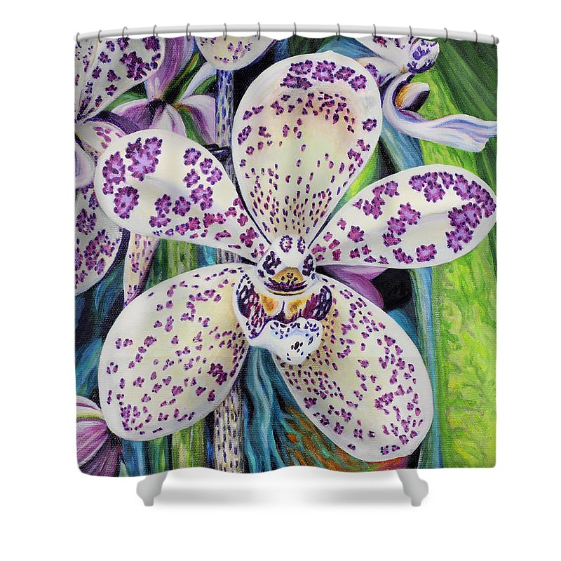 Flower Shower Curtain featuring the painting Violet Dotted Orchid by Jane Girardot