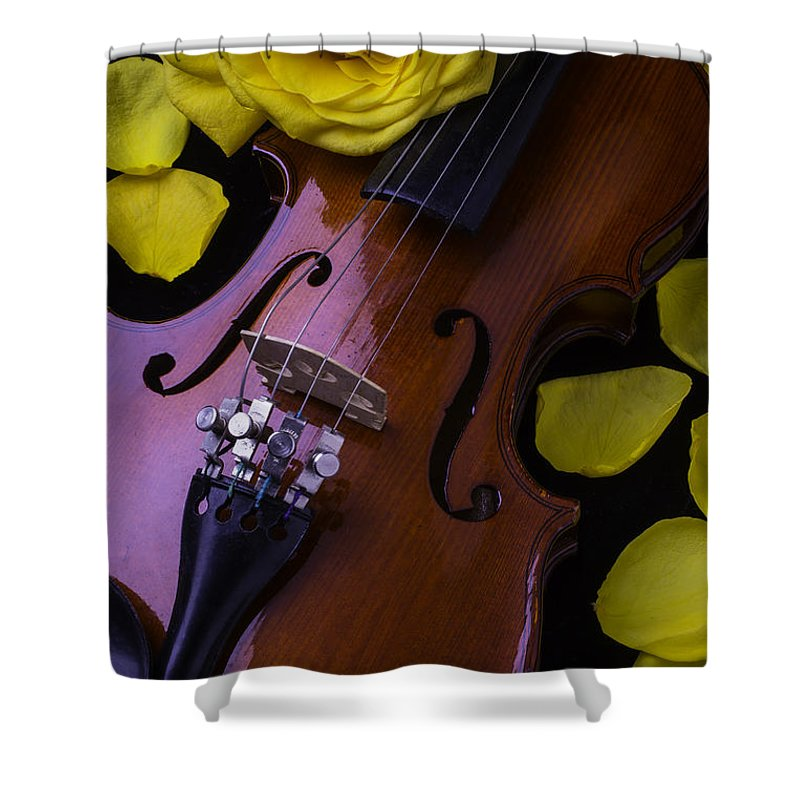 Violin Shower Curtain featuring the photograph Violin With Yellow Rose by Garry Gay