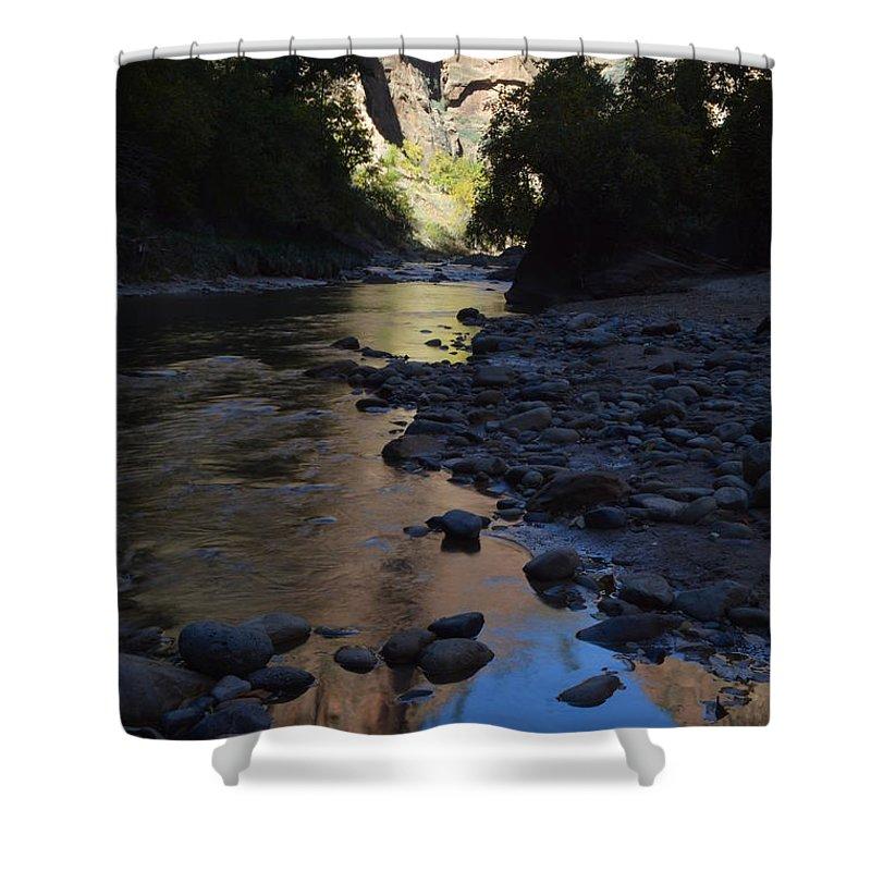 Virgin River Narrows Shower Curtain featuring the photograph Virgin River Narrows by Brian Boyle