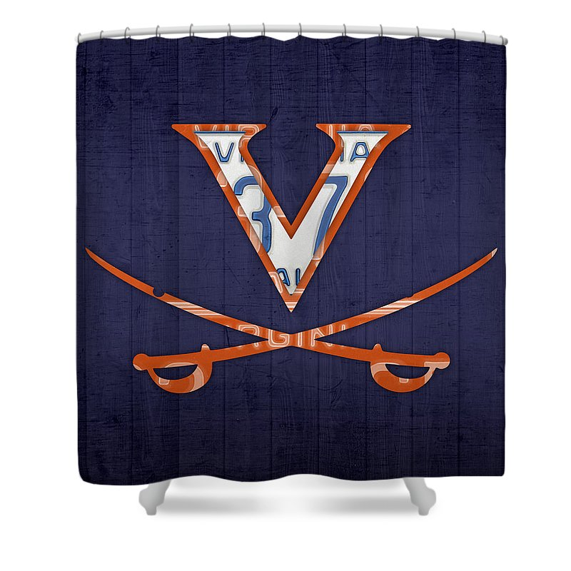Virginia Shower Curtain featuring the mixed media Virginia Cavaliers College Sports Team Retro Vintage Recycled License Plate Art by Design Turnpike