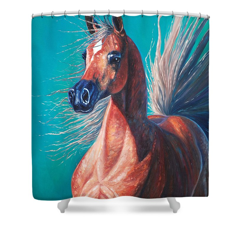 Horse Shower Curtain featuring the painting Viridian by Gill Bustamante