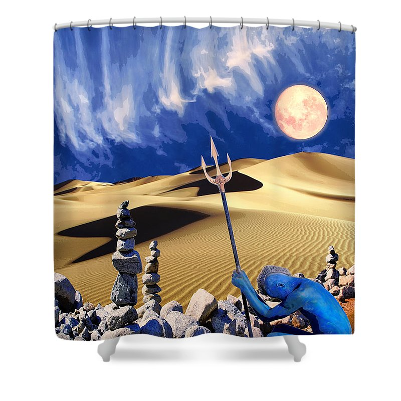 Desert Shower Curtain featuring the mixed media Vision Quest by Dominic Piperata