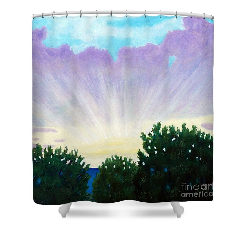 Skyscape Shower Curtain featuring the painting Visionary Sky by Brian Commerford