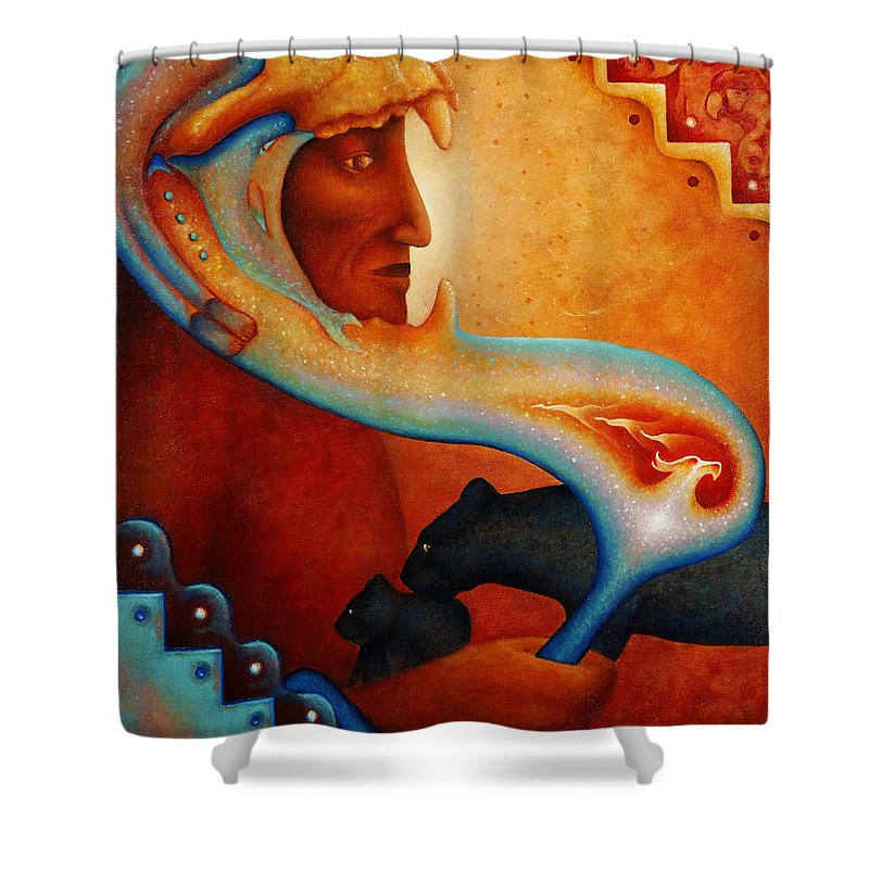 Native American Shower Curtain featuring the painting Visions Of A New Earth by Kevin Chasing Wolf Hutchins