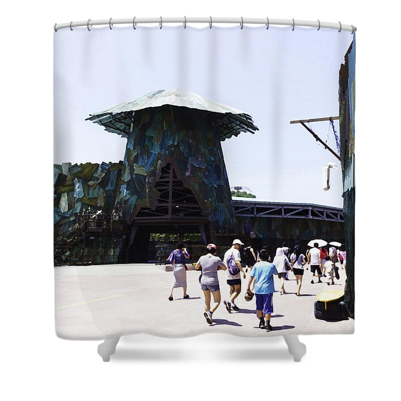 Asia Shower Curtain featuring the digital art Visitors Heading Towards The Waterworld Attraction At Universal Studios by Ashish Agarwal