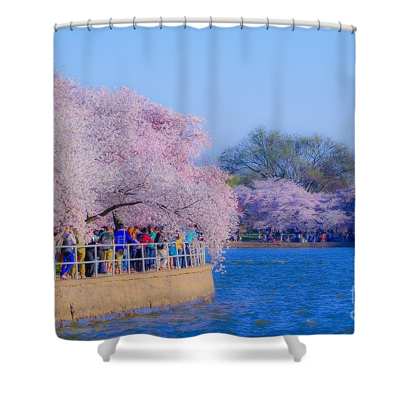 2012 Centennial Celebration Shower Curtain featuring the photograph Visitors To The Blooms On The Basin by Jeff at JSJ Photography