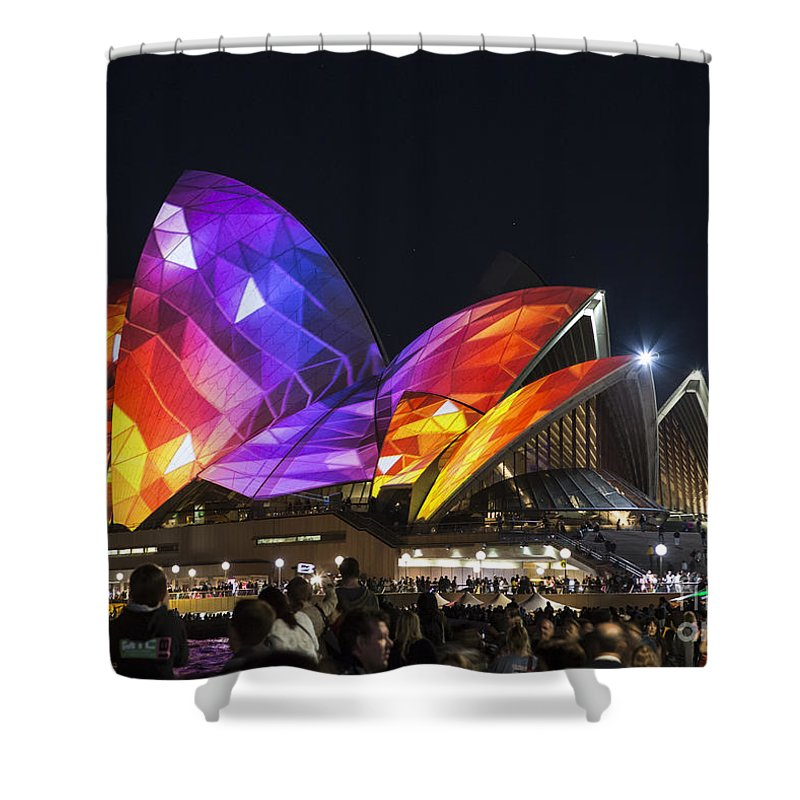 Sydney Opera House Shower Curtain featuring the photograph Vivid Sydney Opera House by Sheila Smart Fine Art Photography