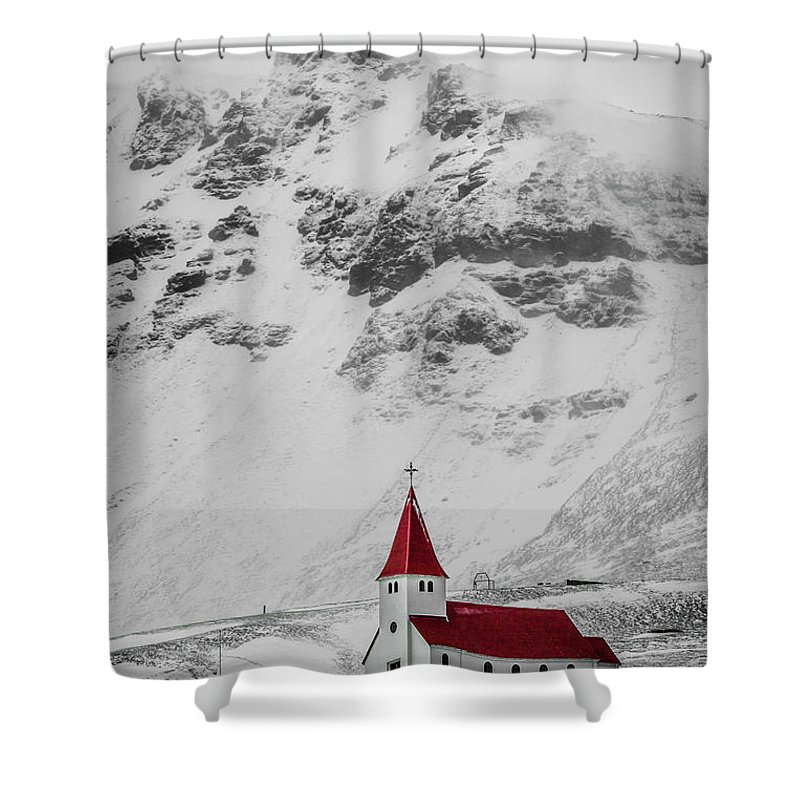 Tranquility Shower Curtain featuring the photograph Vík í Mýrdal Church I by Mabry Campbell