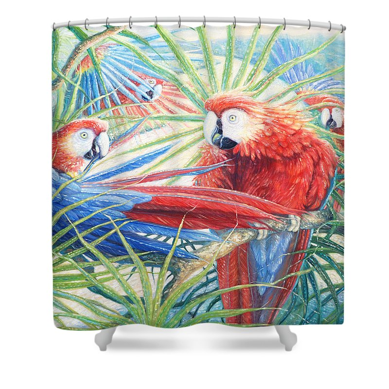 Amazon Shower Curtain featuring the painting Voices Of The Amazon by Gill Bustamante