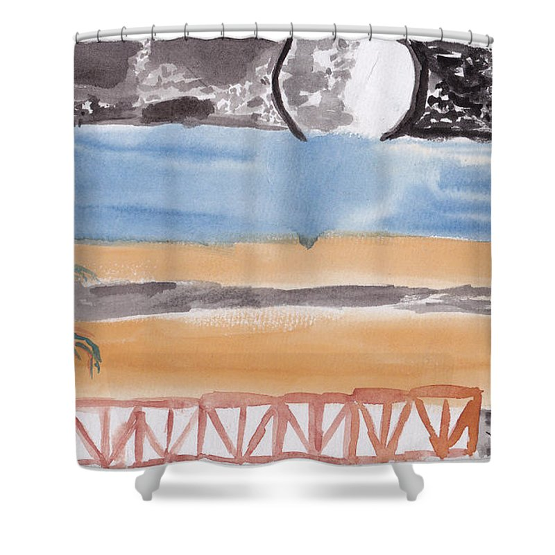 A Terrace That Looks Out Onto A Moonlit Night. Shower Curtain featuring the painting Volcanica by Douglas Friedman