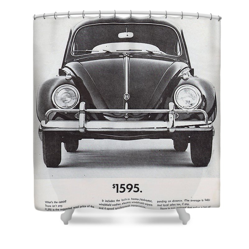 Vw Beetle Shower Curtain featuring the digital art Volkswagen Beetle by Georgia Fowler