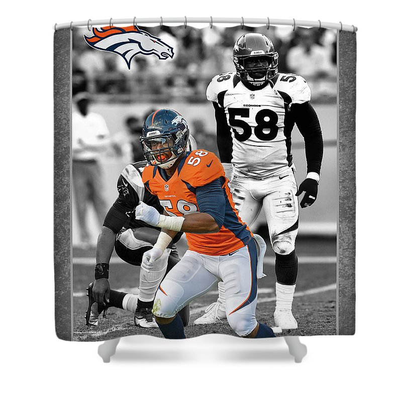 Von Miller Shower Curtain Featuring The Photograph Broncos By Joe Hamilton