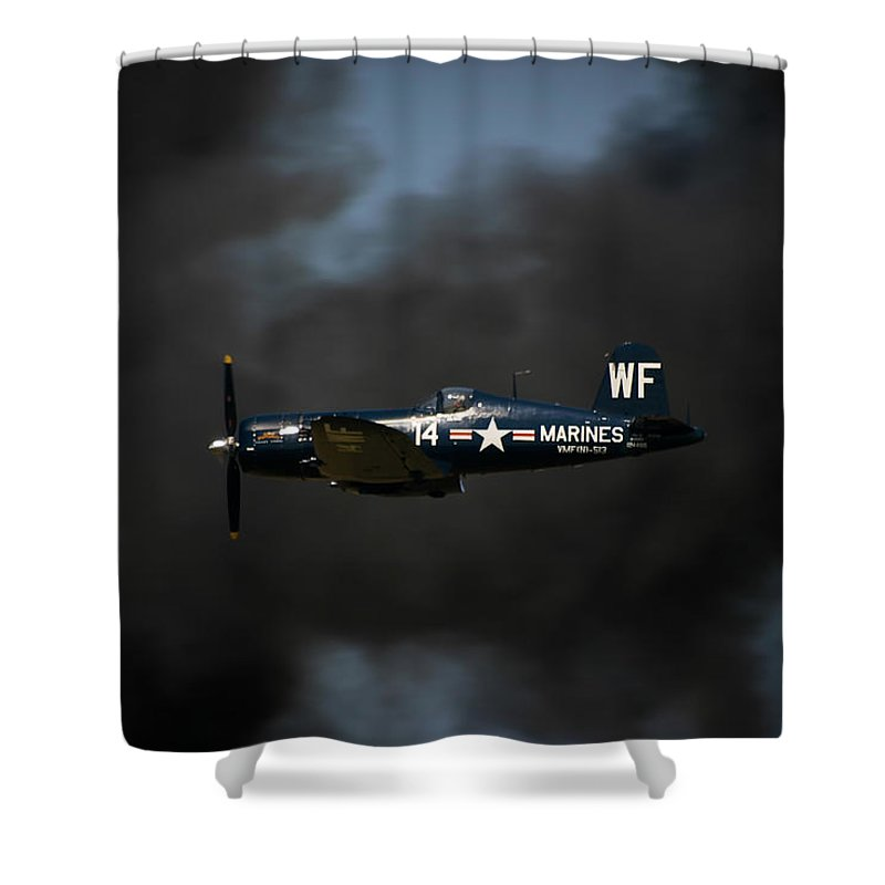 3scape Shower Curtain featuring the photograph Vought F4u Corsair by Adam Romanowicz