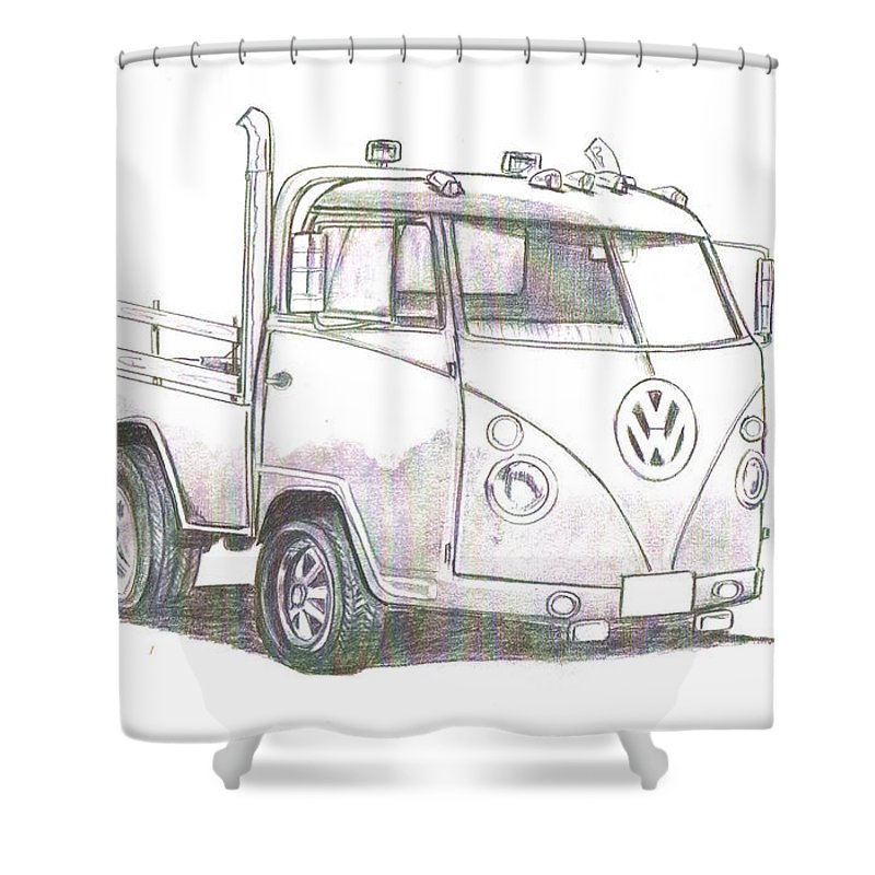 Shower Curtain featuring the drawing Vw-021 by Keith Spence