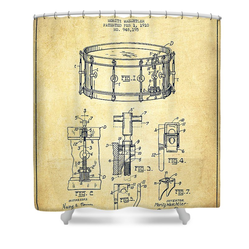 Snare Drum Shower Curtain featuring the digital art Waechtler Snare Drum Patent Drawing From 1910 - Vintage by Aged Pixel