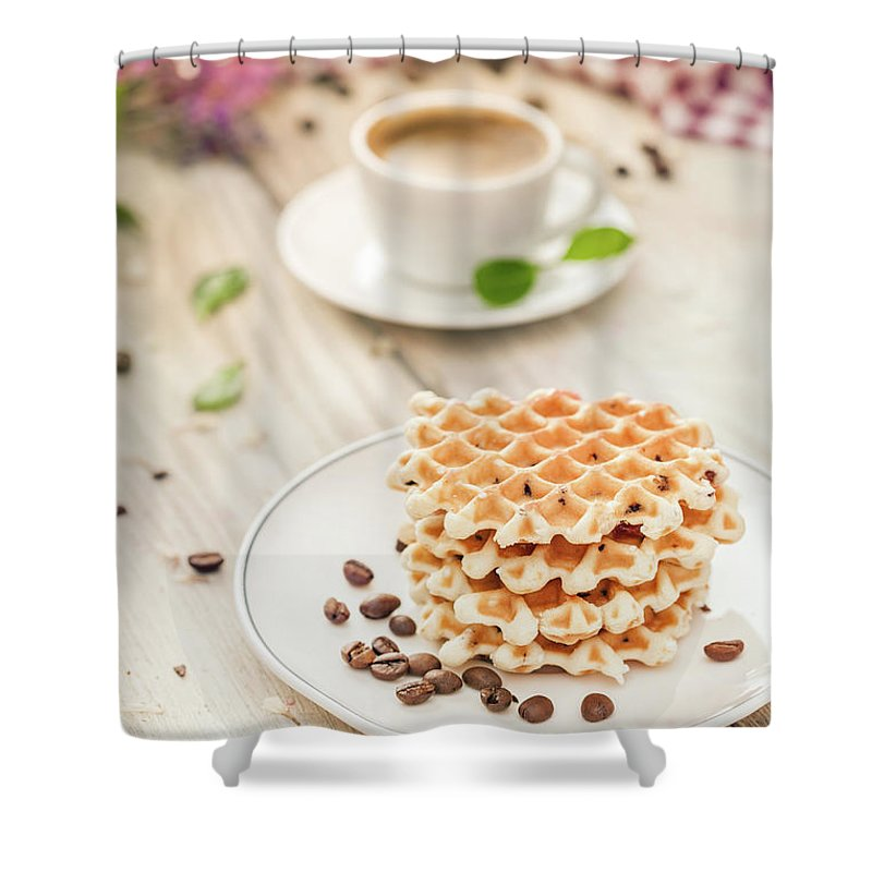 Breakfast Shower Curtain featuring the photograph Waffles With Coffee by Da-kuk