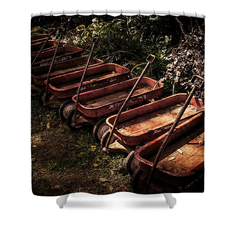 Antique Wagons Shower Curtain featuring the photograph Wagons Of Yesterday by Sharon Meyer