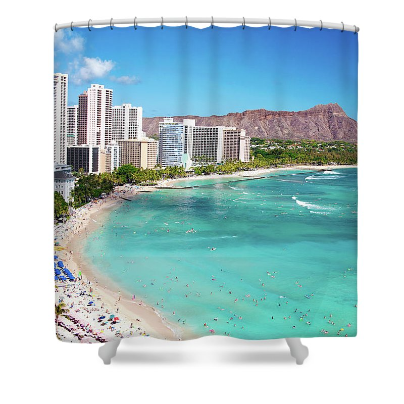 Water's Edge Shower Curtain featuring the photograph Waikiki Beach by M Swiet Productions