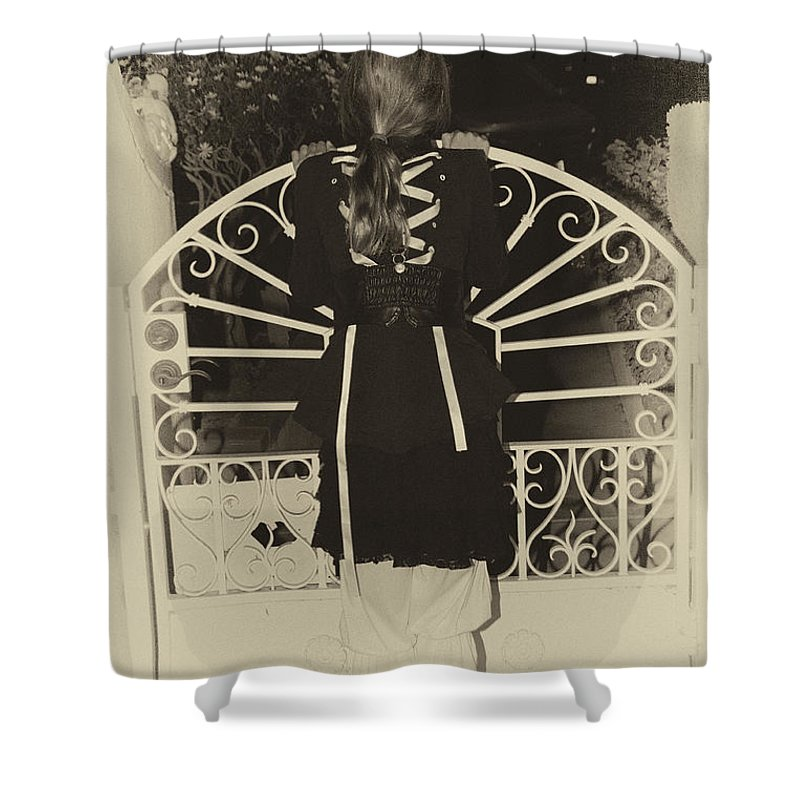 Steampunk Shower Curtain featuring the photograph Waiting At The Gate by Diana Haronis
