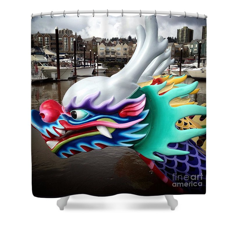 Dragon Boat Shower Curtain featuring the photograph Waiting Dragon by Susan Garren
