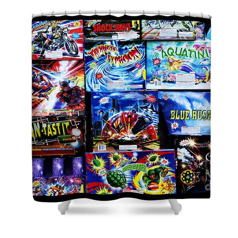Fireworks Shower Curtain featuring the photograph Waiting For The Next Explosion by John Stephens