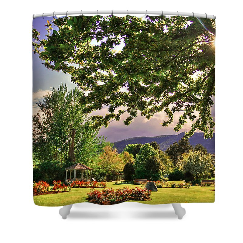 Colorful Shower Curtain featuring the photograph Waiting For The Roses To Bloom by Eti Reid