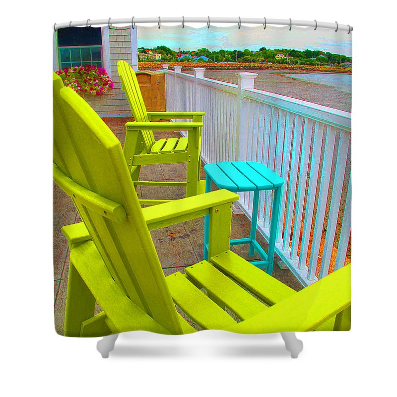 Deck Shower Curtain featuring the photograph Waiting For Tide And Sunset by Barbara McDevitt