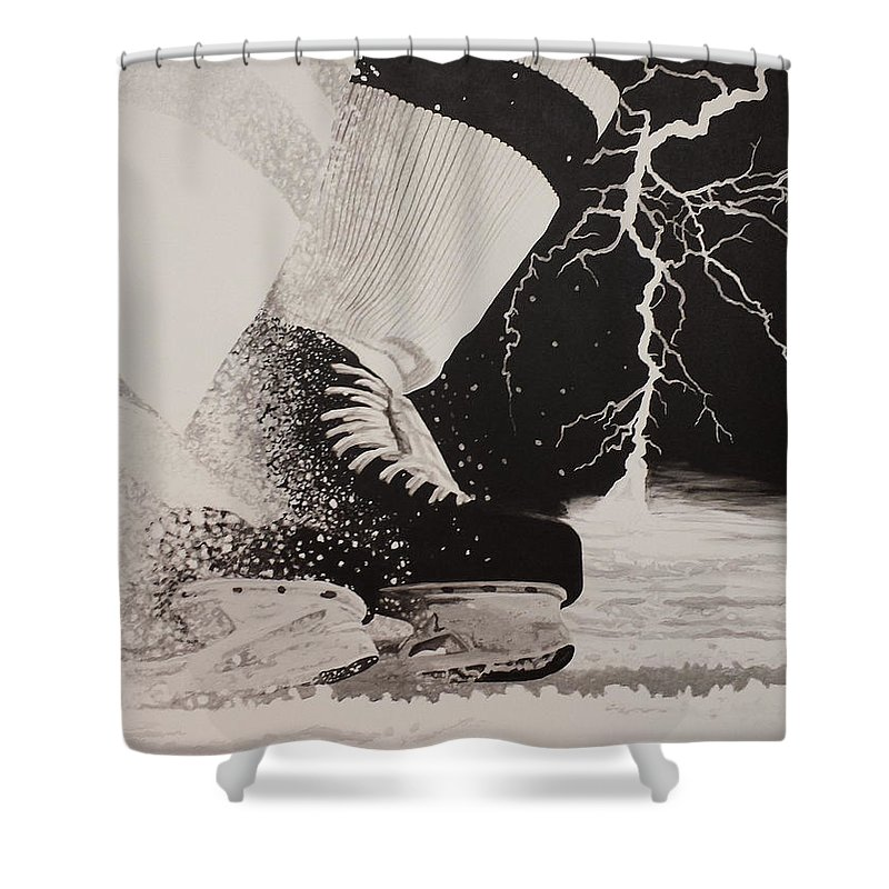 Painting Shower Curtain featuring the painting Waiting on the thunder by Scott Robinson