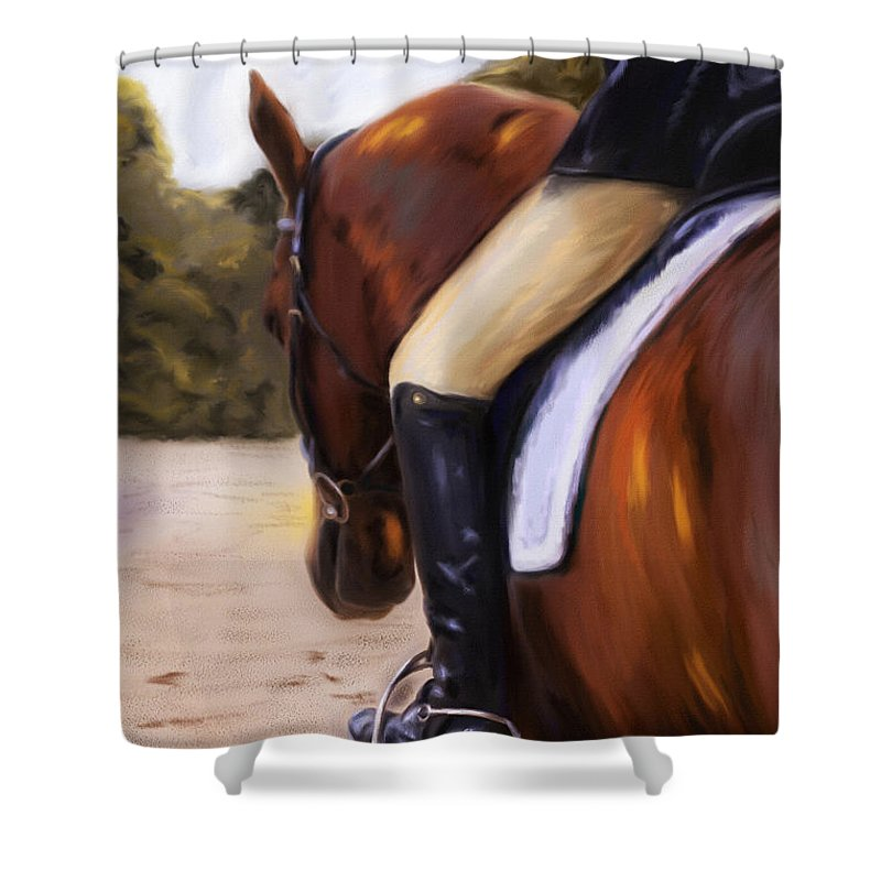 Dressage Shower Curtain featuring the painting Waiting Our Turn by Michelle Wrighton