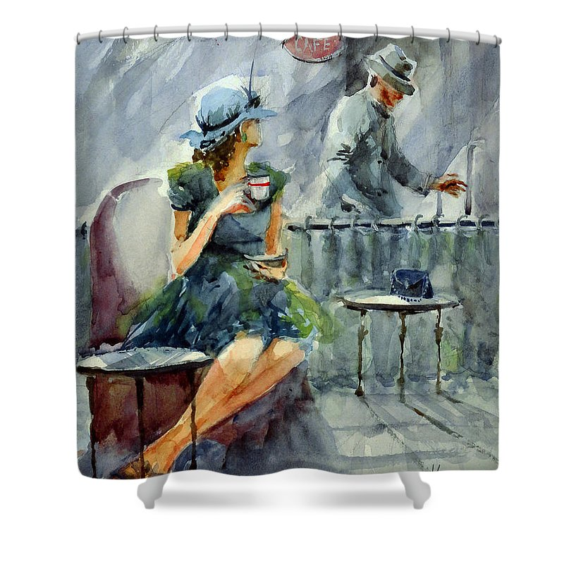Woman Shower Curtain featuring the painting Waiting With Hope by Faruk Koksal