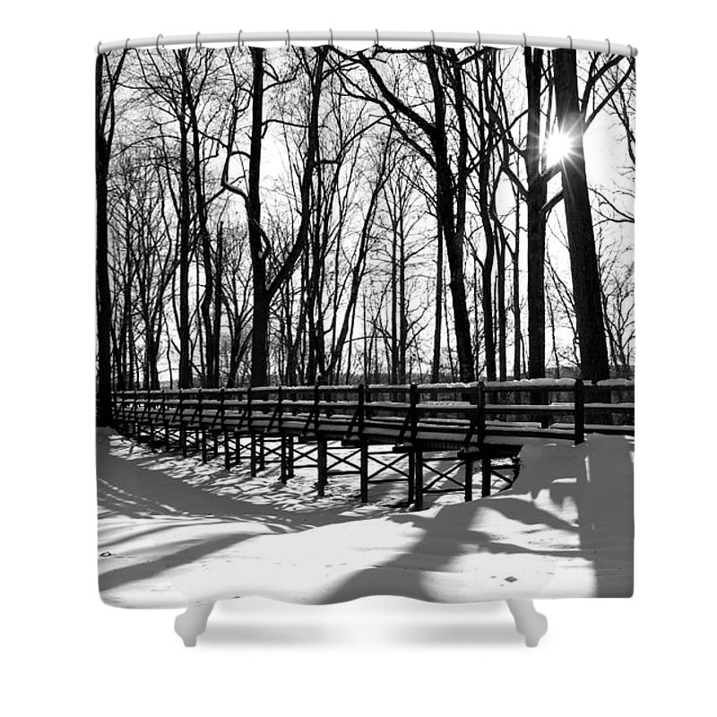 Landscape - B&w - Foot Bridge Trail On A Sunny Winter Day In Gillette Castle State Park Ct. Shower Curtain featuring the photograph Sunset On Trail Bridge by Ursula Coccomo