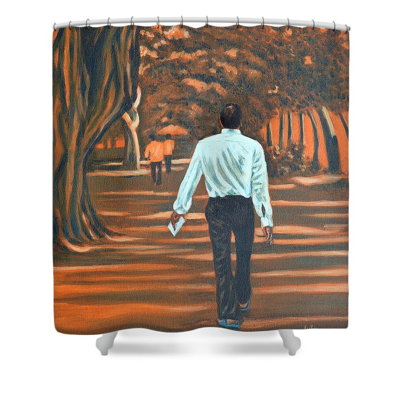 Usha Shower Curtain featuring the painting Walk In The Woods by Usha Shantharam