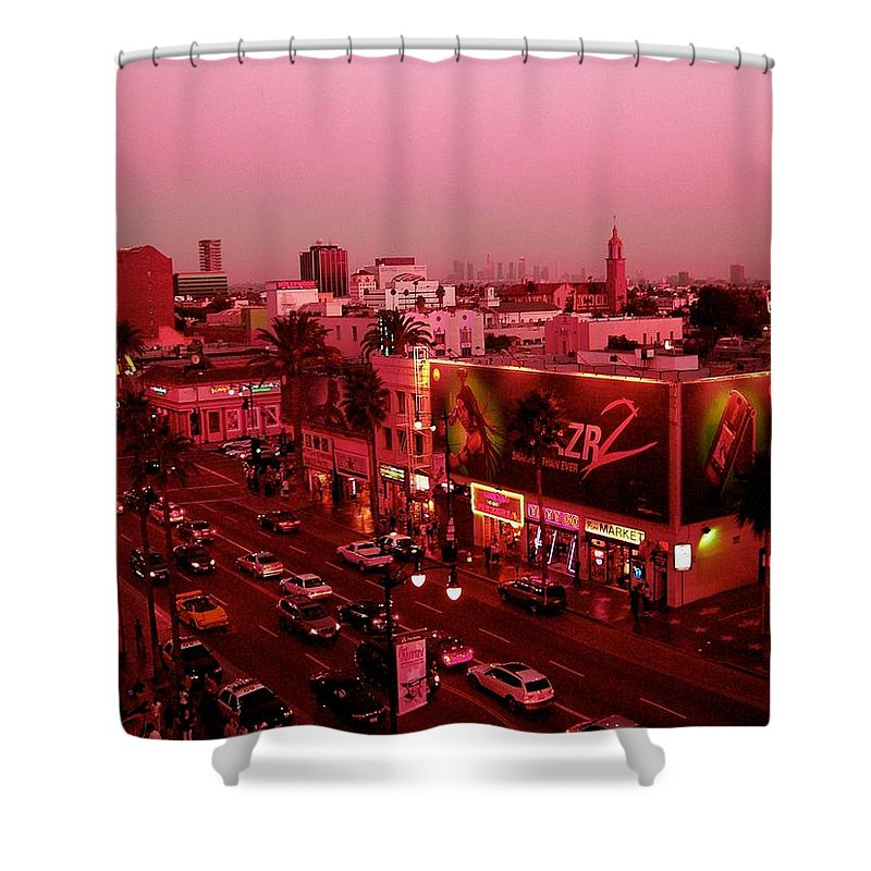 Hollywood Prints Shower Curtain featuring the photograph Walk Of Fame In Pink by Monique's Fine Art