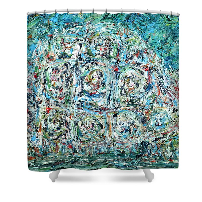 Turtle Shower Curtain featuring the painting Walking Turtle by Fabrizio Cassetta
