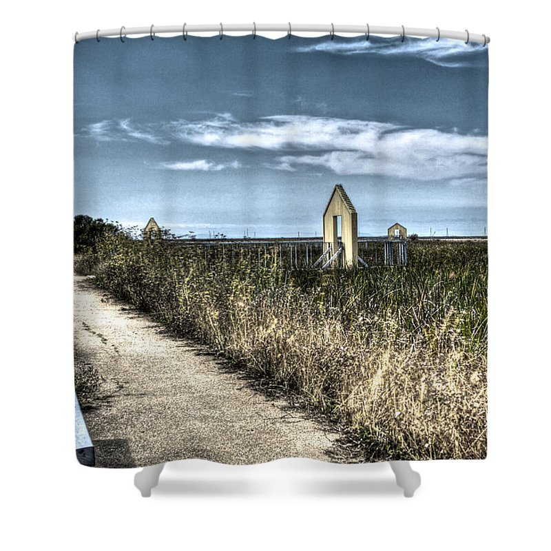 Alviso Shower Curtain featuring the photograph Walkway In The Marsh 2 by SC Heffner