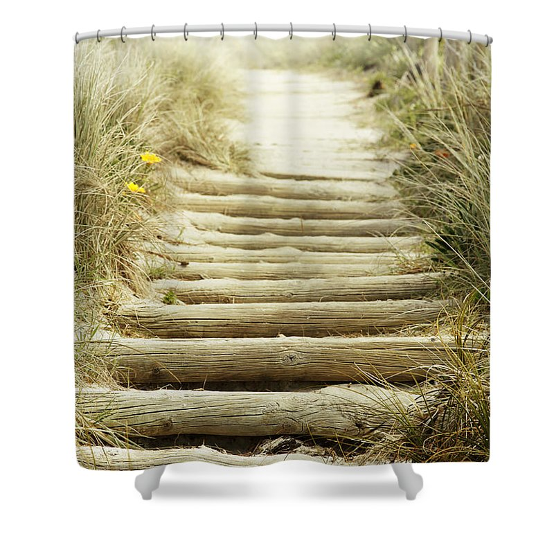 Beach Shower Curtain featuring the photograph Walkway To Beach by Les Cunliffe