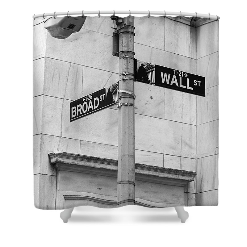 Wall Street Shower Curtain featuring the photograph Wall And Broad by Jerry Fornarotto
