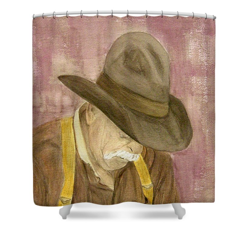 Western Shower Curtain featuring the painting Walter by Regan J Smith