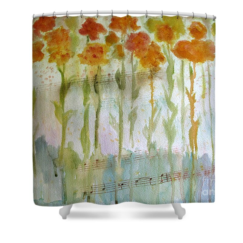 Flower Shower Curtain featuring the painting Waltz Of The Flowers by Sandy McIntire