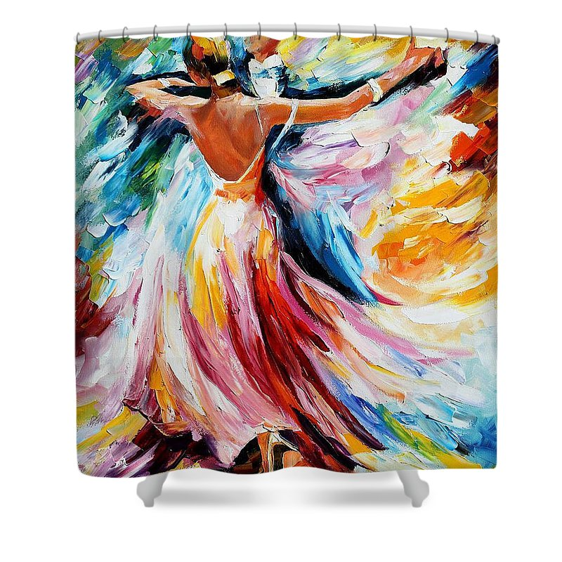 Oil Paintings Shower Curtain featuring the painting Waltz - Palette Knife Oil Painting On Canvas By Leonid Afremov by Leonid Afremov