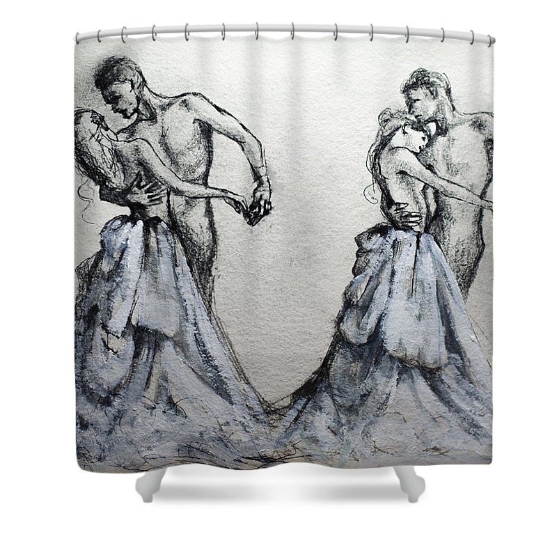 Waltz Shower Curtain featuring the painting Waltzing With You by Dorina Costras