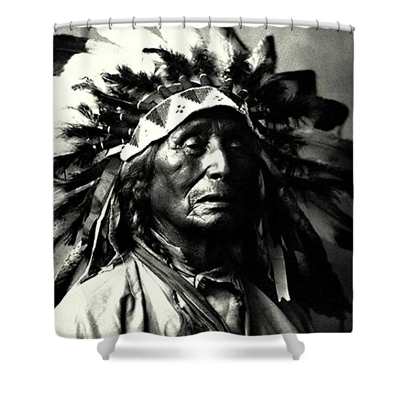 Indian Shower Curtain featuring the photograph Wanduta Lakota Sioux by Rasko Aksentijevic
