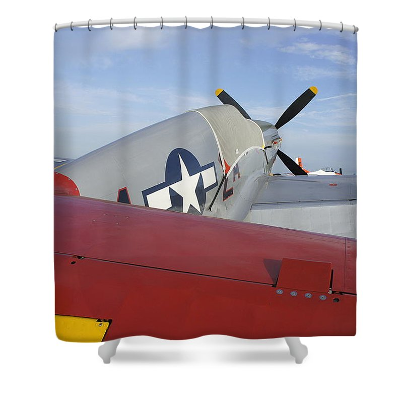 Historic War Plane Shower Curtain featuring the photograph War Bird by Laurie Perry