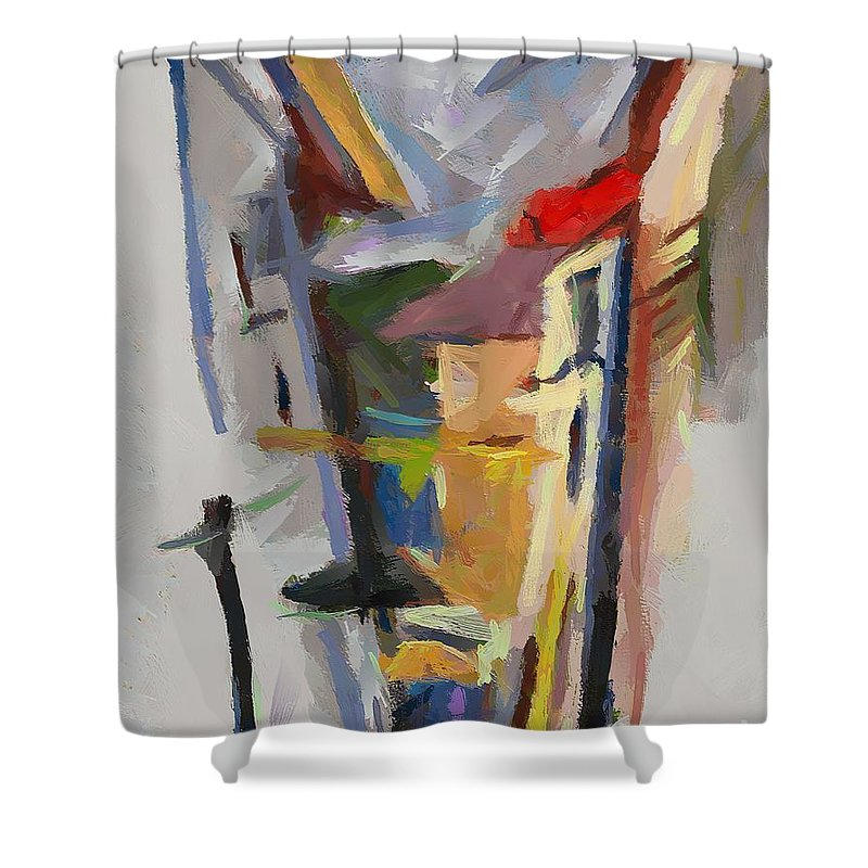Landscapes Shower Curtain featuring the painting Warehouse Of Salt by Dragica Micki Fortuna