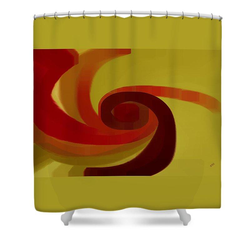 Geometric Shower Curtain featuring the digital art Warm Swirl by Ben and Raisa Gertsberg