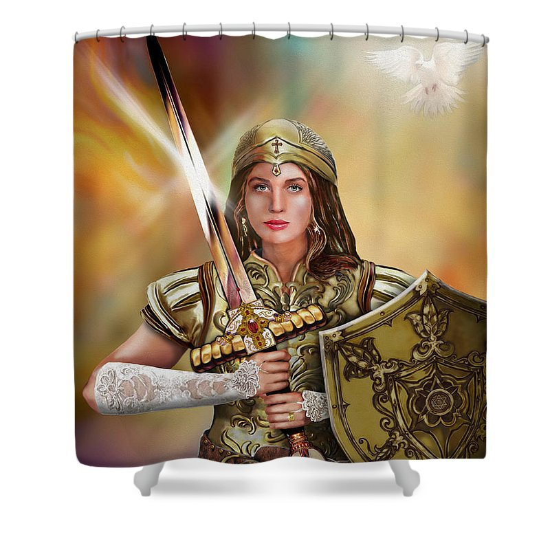 Bride Of Christ Shower Curtain featuring the painting Warrior Bride Of Christ by Todd L Thomas