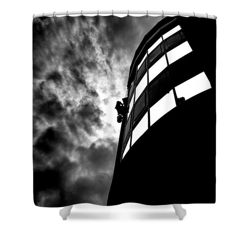 Window Shower Curtain featuring the photograph Washing Windows In The City by Bob Orsillo
