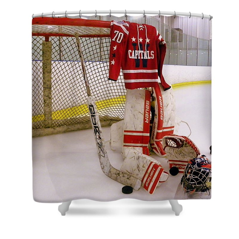 Braden Holtby Shower Curtain featuring the photograph Washington Capitals  Braden Holtby Winter Classic 2015 Jersey by d90ad668d